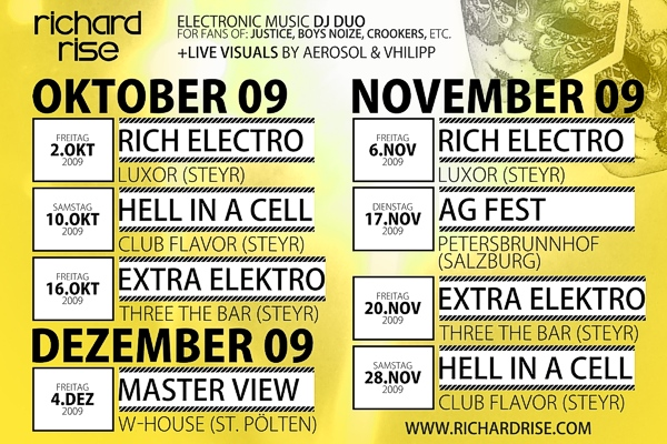 Richard Rise Herbsttour 09 Dj Duo Electro Electronic Music Steyr Flavor Three Luxor Warehouse